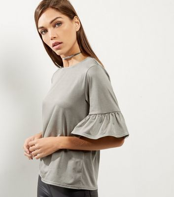 Khaki Bell Sleeve Top - sleeve style: bell sleeve; pattern: plain; predominant colour: light grey; occasions: casual; length: standard; style: top; fibres: polyester/polyamide - stretch; fit: loose; neckline: crew; back detail: longer hem at back than at front; sleeve length: half sleeve; pattern type: fabric; texture group: jersey - stretchy/drapey; wardrobe: basic; season: a/w 2016