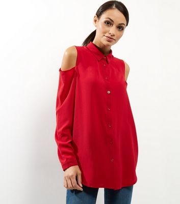 Red Cold Shoulder Long Sleeve Shirt - neckline: shirt collar/peter pan/zip with opening; pattern: plain; length: below the bottom; style: shirt; predominant colour: true red; occasions: casual; fibres: polyester/polyamide - stretch; fit: loose; shoulder detail: cut out shoulder; sleeve length: long sleeve; sleeve style: standard; pattern type: fabric; texture group: other - light to midweight; season: a/w 2016