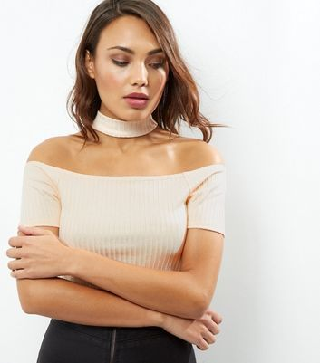 Gold Flecked Ribbed Choker Neck Bardot Top - neckline: off the shoulder; pattern: plain; length: cropped; predominant colour: ivory/cream; occasions: casual; style: top; fibres: polyester/polyamide - stretch; fit: tight; sleeve length: short sleeve; sleeve style: standard; texture group: jersey - clingy; pattern type: fabric; season: a/w 2016; wardrobe: highlight