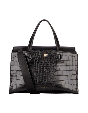 Croc Grab Bag - predominant colour: black; occasions: work, creative work; type of pattern: standard; style: tote; length: handle; size: standard; material: faux leather; pattern: animal print; finish: patent; season: a/w 2016