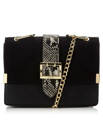 Snake Buckle Shoulder Bag - secondary colour: charcoal; predominant colour: black; occasions: evening, occasion; type of pattern: light; style: shoulder; length: across body/long; size: standard; material: faux leather; pattern: animal print; finish: plain; embellishment: buckles; season: a/w 2016