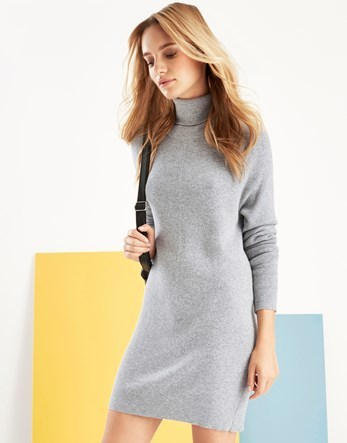 Knit Funnel Neck Dress - style: jumper dress; length: mid thigh; pattern: plain; neckline: roll neck; predominant colour: light grey; occasions: casual; fit: body skimming; fibres: polyester/polyamide - mix; sleeve length: long sleeve; sleeve style: standard; texture group: knits/crochet; pattern type: knitted - fine stitch; wardrobe: basic; season: a/w 2016