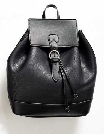 Buckle Backpack - predominant colour: black; occasions: casual, creative work; type of pattern: standard; style: rucksack; length: rucksack; size: standard; material: faux leather; pattern: plain; finish: plain; wardrobe: basic; season: a/w 2016