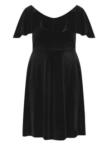 Black Velvet Layer Dress - neckline: round neck; pattern: plain; predominant colour: black; occasions: evening; length: on the knee; fit: fitted at waist & bust; style: fit & flare; fibres: polyester/polyamide - stretch; sleeve length: short sleeve; sleeve style: standard; pattern type: fabric; texture group: velvet/fabrics with pile; season: a/w 2016; wardrobe: event