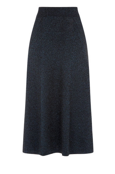 Sparkle Midi Skirt - length: calf length; pattern: plain; style: full/prom skirt; fit: loose/voluminous; waist: mid/regular rise; predominant colour: navy; occasions: evening; pattern type: fabric; texture group: jersey - stretchy/drapey; fibres: viscose/rayon - mix; season: a/w 2016; wardrobe: event
