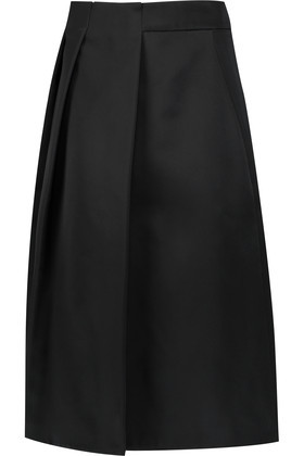 Pleated Satin Midi Skirt Black - length: below the knee; pattern: plain; style: full/prom skirt; fit: loose/voluminous; waist: mid/regular rise; predominant colour: black; occasions: evening; fibres: polyester/polyamide - 100%; texture group: structured shiny - satin/tafetta/silk etc.; pattern type: fabric; season: a/w 2016; wardrobe: event