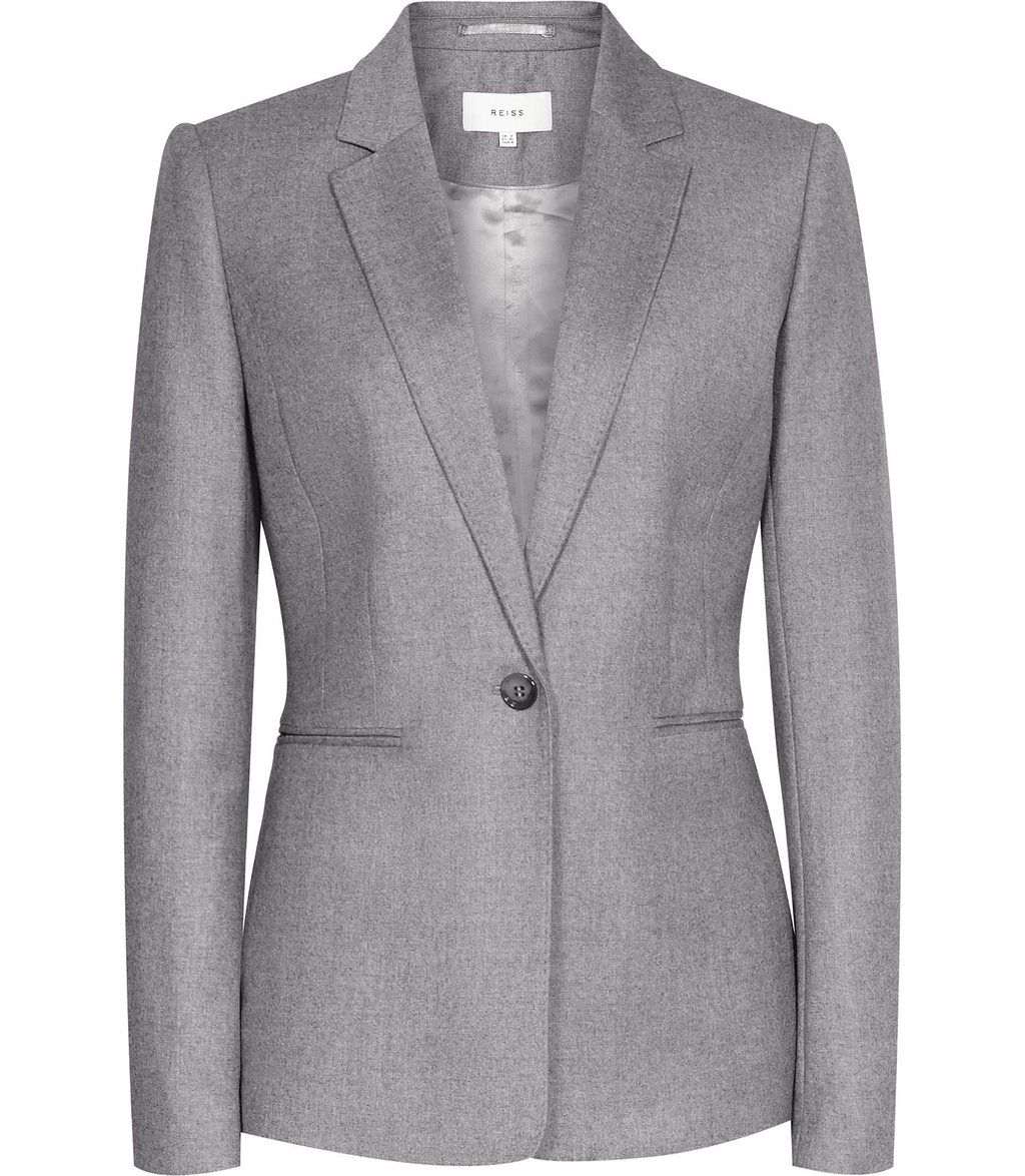 Sammy Jacket Womens Single Breasted Blazer In Grey - pattern: plain; style: single breasted blazer; collar: standard lapel/rever collar; predominant colour: mid grey; occasions: work; length: standard; fit: tailored/fitted; fibres: wool - 100%; sleeve length: long sleeve; sleeve style: standard; collar break: medium; pattern type: fabric; texture group: woven light midweight; wardrobe: investment; season: a/w 2016