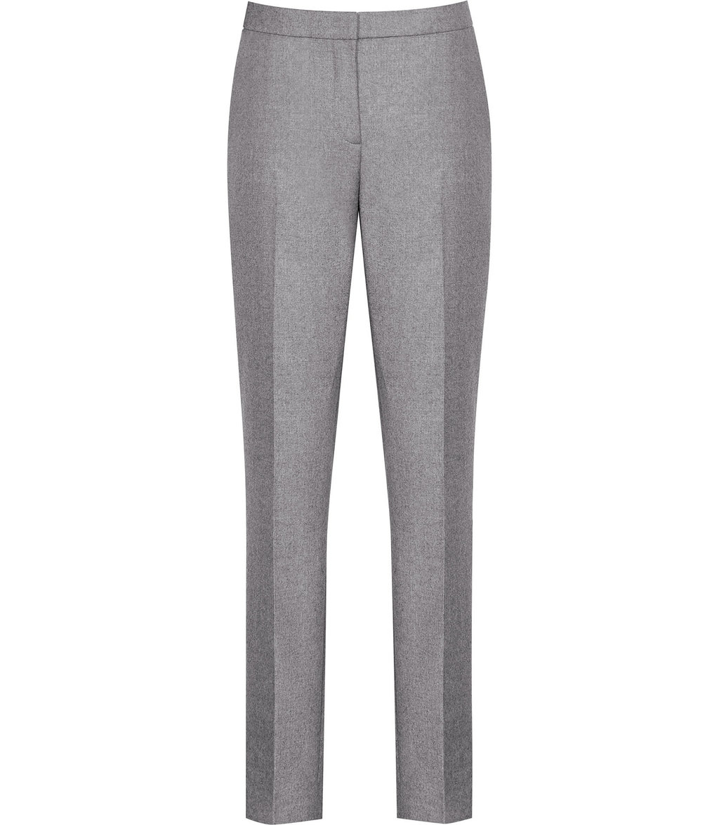 Sammy Trouser Womens Tailored Trousers In Grey - length: standard; pattern: plain; waist: high rise; predominant colour: mid grey; occasions: work; fibres: wool - mix; fit: straight leg; pattern type: fabric; texture group: woven light midweight; style: standard; wardrobe: basic; season: a/w 2016