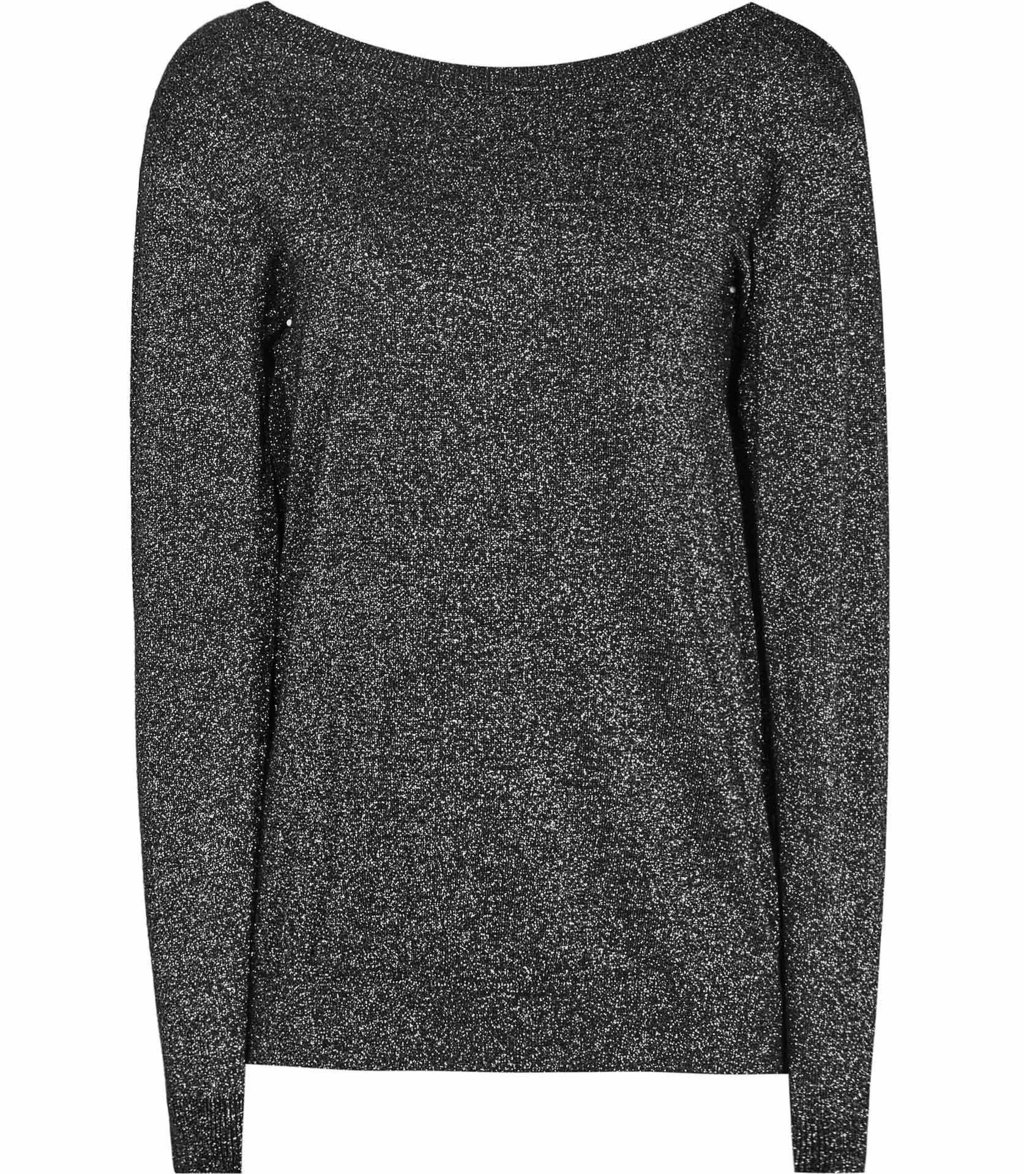 Luli Womens Metallic V Back Jumper In Black - neckline: slash/boat neckline; pattern: plain; style: standard; predominant colour: black; occasions: casual, work, creative work; length: standard; fibres: wool - mix; fit: standard fit; sleeve length: long sleeve; sleeve style: standard; texture group: knits/crochet; pattern type: knitted - fine stitch; wardrobe: basic; season: a/w 2016