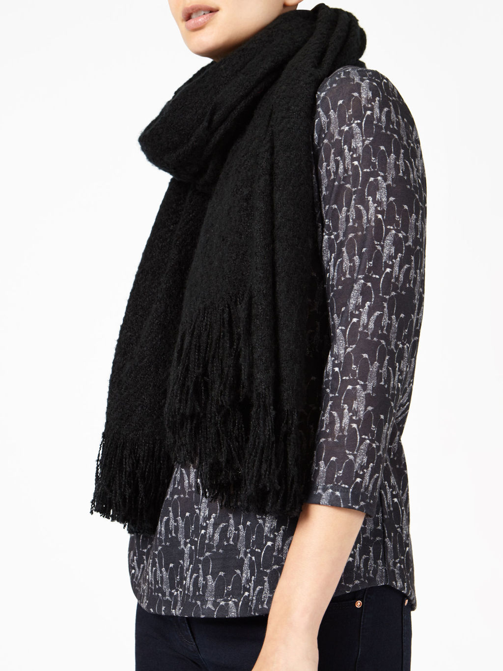 Black Blanket Scarf - predominant colour: black; occasions: casual; type of pattern: standard; style: regular; size: standard; material: fabric; embellishment: fringing; pattern: plain; wardrobe: basic; season: a/w 2016