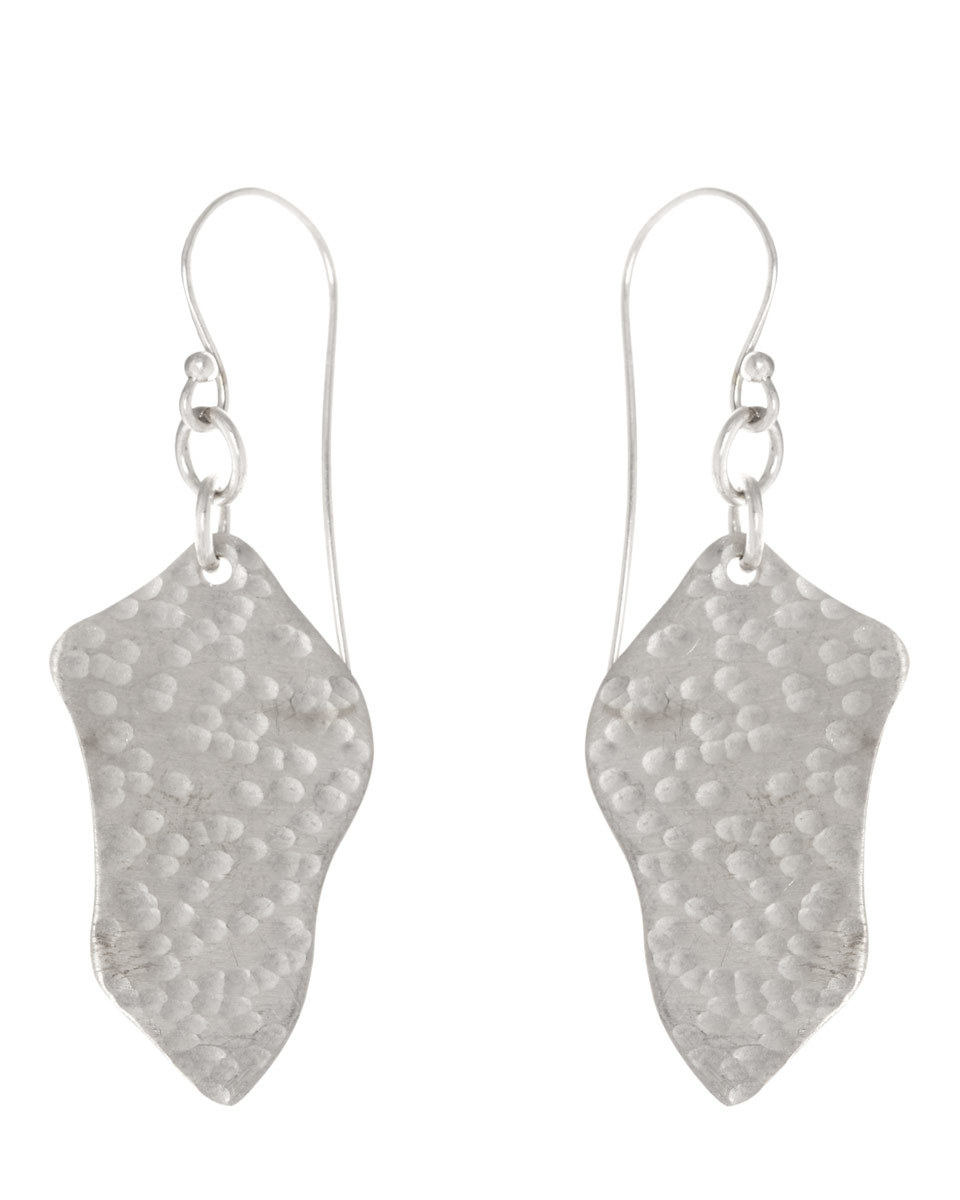Made Hammered Grain Earrings - predominant colour: silver; occasions: evening, creative work; style: drop; length: mid; size: small/fine; material: chain/metal; fastening: pierced; finish: metallic; season: a/w 2016; wardrobe: highlight