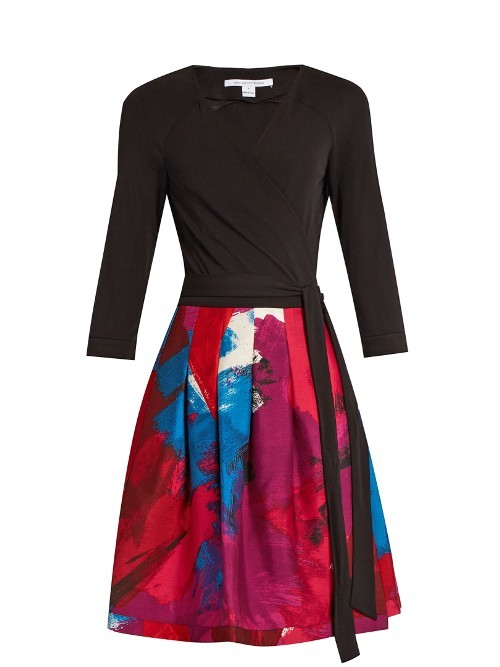 Jewel Dress - style: faux wrap/wrap; length: mini; neckline: v-neck; waist detail: belted waist/tie at waist/drawstring; secondary colour: magenta; predominant colour: black; occasions: evening, occasion; fit: fitted at waist & bust; fibres: wool - mix; hip detail: adds bulk at the hips; sleeve length: 3/4 length; sleeve style: standard; pattern type: fabric; pattern size: big & busy; pattern: patterned/print; texture group: woven light midweight; multicoloured: multicoloured; season: a/w 2016; wardrobe: event