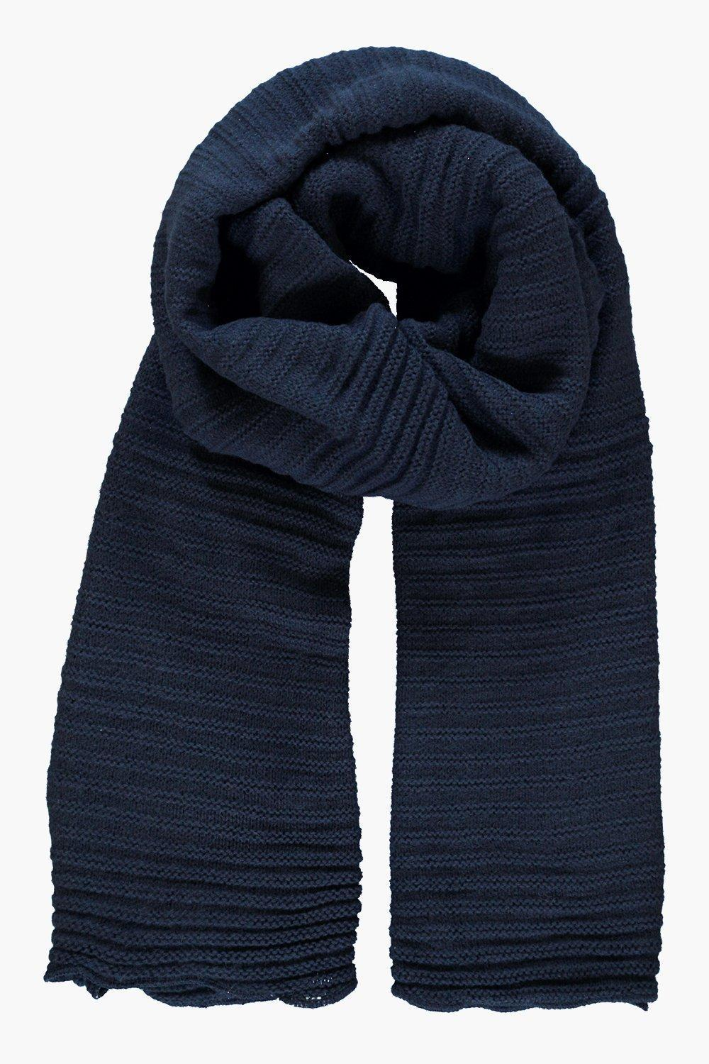 Super Chunky Rib Knit Scarf Indigo - predominant colour: gold; occasions: casual; type of pattern: standard; style: regular; size: standard; material: fabric; pattern: knit; season: a/w 2016; wardrobe: highlight