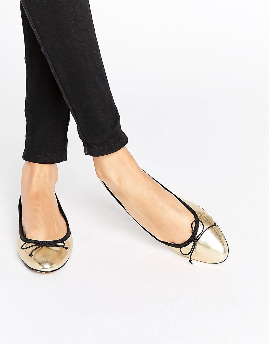 Gold Ballet Pump Gold - predominant colour: gold; occasions: casual, creative work; material: faux leather; heel height: flat; toe: round toe; style: ballerinas / pumps; finish: metallic; pattern: plain; embellishment: bow; season: a/w 2016