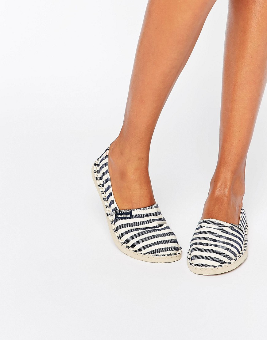 Origine Navy Espadrilles 0093 - predominant colour: navy; occasions: casual, holiday; material: fabric; heel height: flat; toe: round toe; finish: plain; pattern: striped; style: espadrilles; season: a/w 2016; wardrobe: highlight