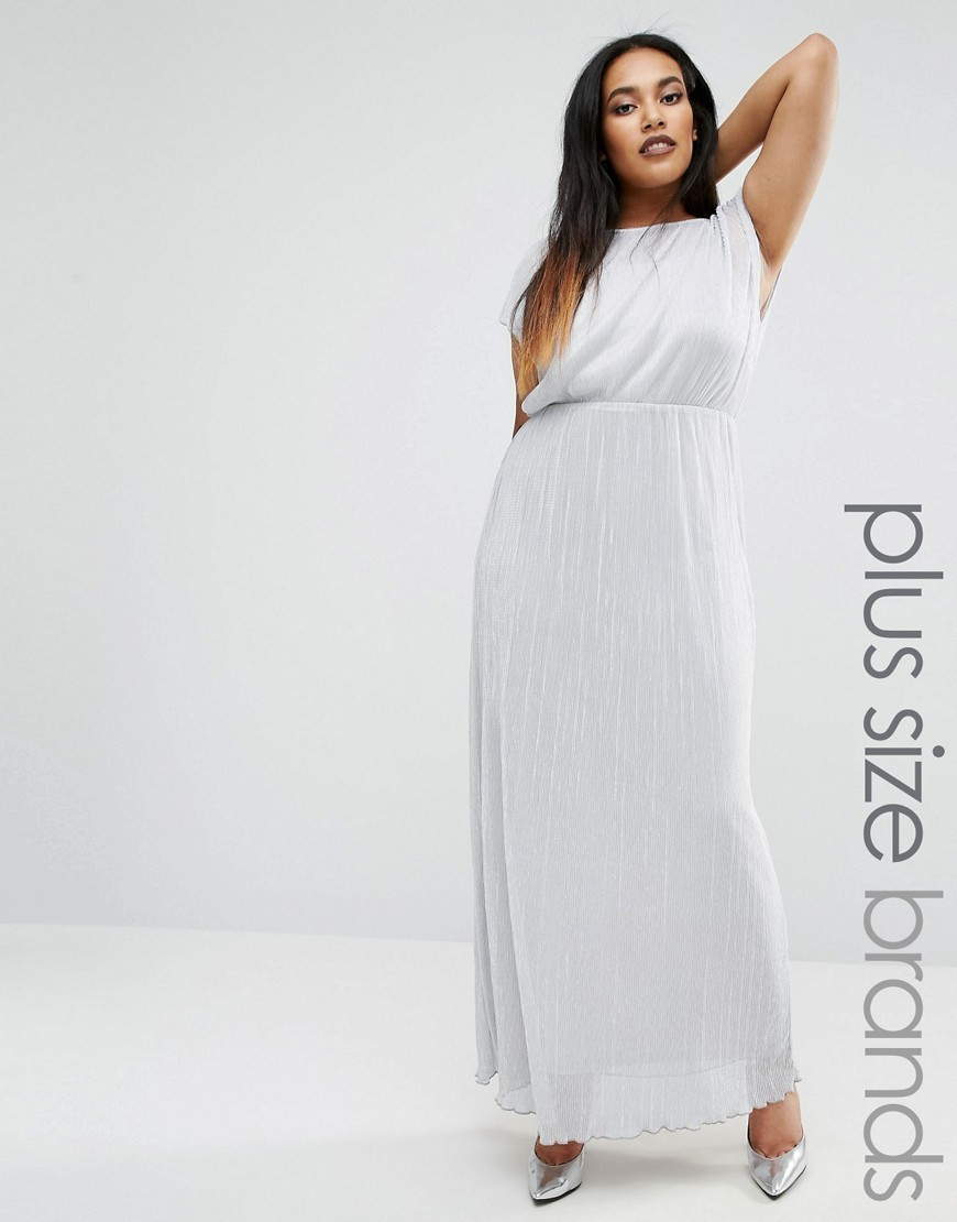 Plus Maxi Dress In Metallic Fabric Silver Grey - fit: loose; pattern: plain; sleeve style: sleeveless; style: maxi dress; length: ankle length; predominant colour: silver; occasions: evening; fibres: polyester/polyamide - 100%; neckline: crew; sleeve length: sleeveless; pattern type: fabric; texture group: jersey - stretchy/drapey; season: a/w 2016; wardrobe: event