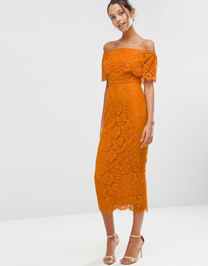 Lace Crop Top Midi Bardot Pencil Dress Burnt Orange - style: shift; length: below the knee; neckline: off the shoulder; pattern: plain; predominant colour: bright orange; occasions: evening; fit: body skimming; fibres: cotton - mix; sleeve length: half sleeve; sleeve style: standard; texture group: lace; pattern type: fabric; season: a/w 2016; wardrobe: event