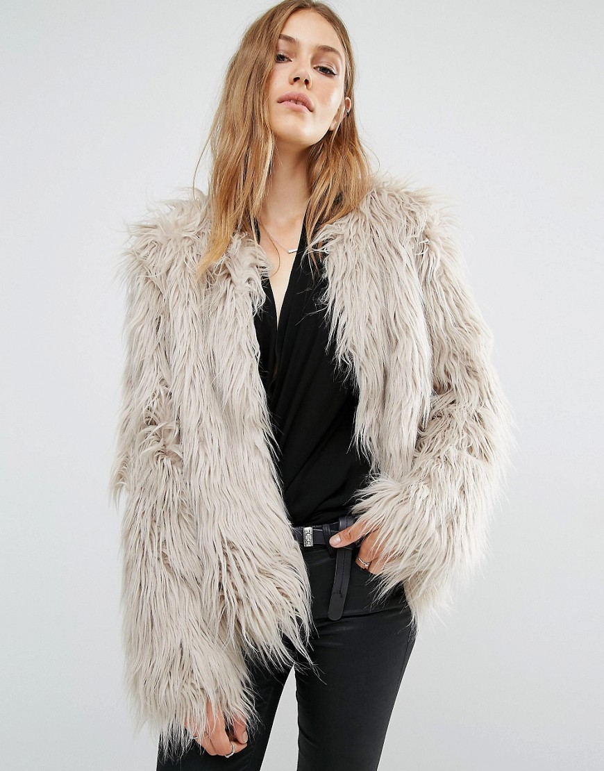 Cropped Shaggy Faux Fur Coat Stone - pattern: plain; length: standard; collar: round collar/collarless; fit: loose; predominant colour: light grey; occasions: casual; fibres: acrylic - mix; style: fur coat; sleeve length: long sleeve; sleeve style: standard; texture group: fur; collar break: high; pattern type: fabric; season: a/w 2016