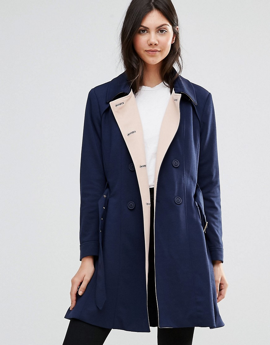 Ponti Trench Coat Navy - pattern: plain; style: single breasted; fit: slim fit; length: mid thigh; secondary colour: ivory/cream; predominant colour: navy; occasions: casual; fibres: polyester/polyamide - stretch; collar: shirt collar/peter pan/zip with opening; waist detail: belted waist/tie at waist/drawstring; sleeve length: long sleeve; sleeve style: standard; collar break: high; pattern type: fabric; texture group: other - light to midweight; wardrobe: basic; season: a/w 2016
