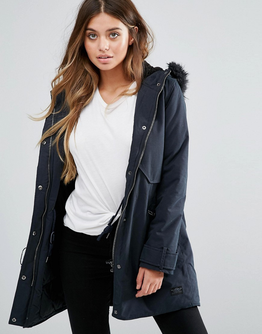 Parka Jacket With Faux Fur Hood Black - pattern: plain; length: below the bottom; collar: funnel; fit: loose; style: parka; back detail: hood; predominant colour: black; occasions: casual; fibres: cotton - 100%; sleeve length: long sleeve; sleeve style: standard; texture group: cotton feel fabrics; collar break: high; pattern type: fabric; embellishment: fur; season: a/w 2016; wardrobe: highlight