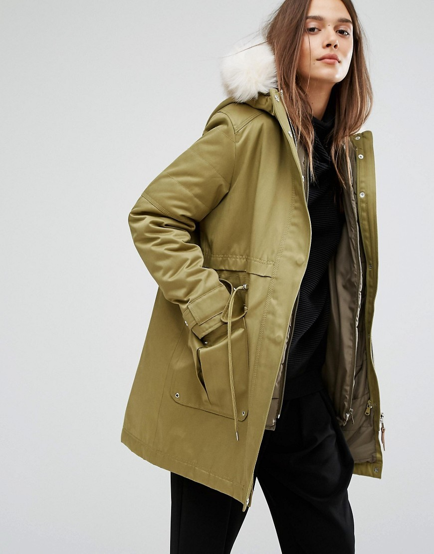 Kay Parka With Inner Detachable Bomber Jacket And Fur Trim On Hood Fern Green - pattern: plain; length: below the bottom; collar: funnel; fit: loose; style: parka; back detail: hood; predominant colour: khaki; occasions: casual; fibres: cotton - 100%; sleeve length: long sleeve; sleeve style: standard; texture group: cotton feel fabrics; collar break: high; pattern type: fabric; wardrobe: basic; season: a/w 2016
