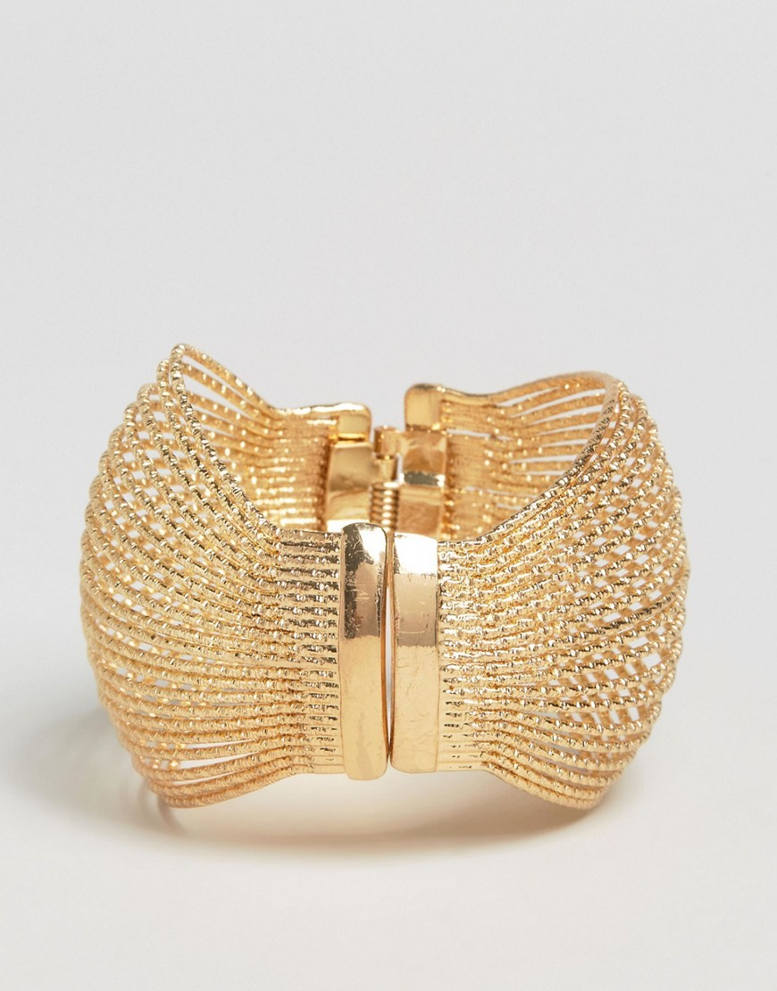 Statement Bracelet Gold - predominant colour: gold; occasions: evening, occasion; style: cuff; size: large/oversized; material: chain/metal; finish: metallic; season: a/w 2016; wardrobe: event