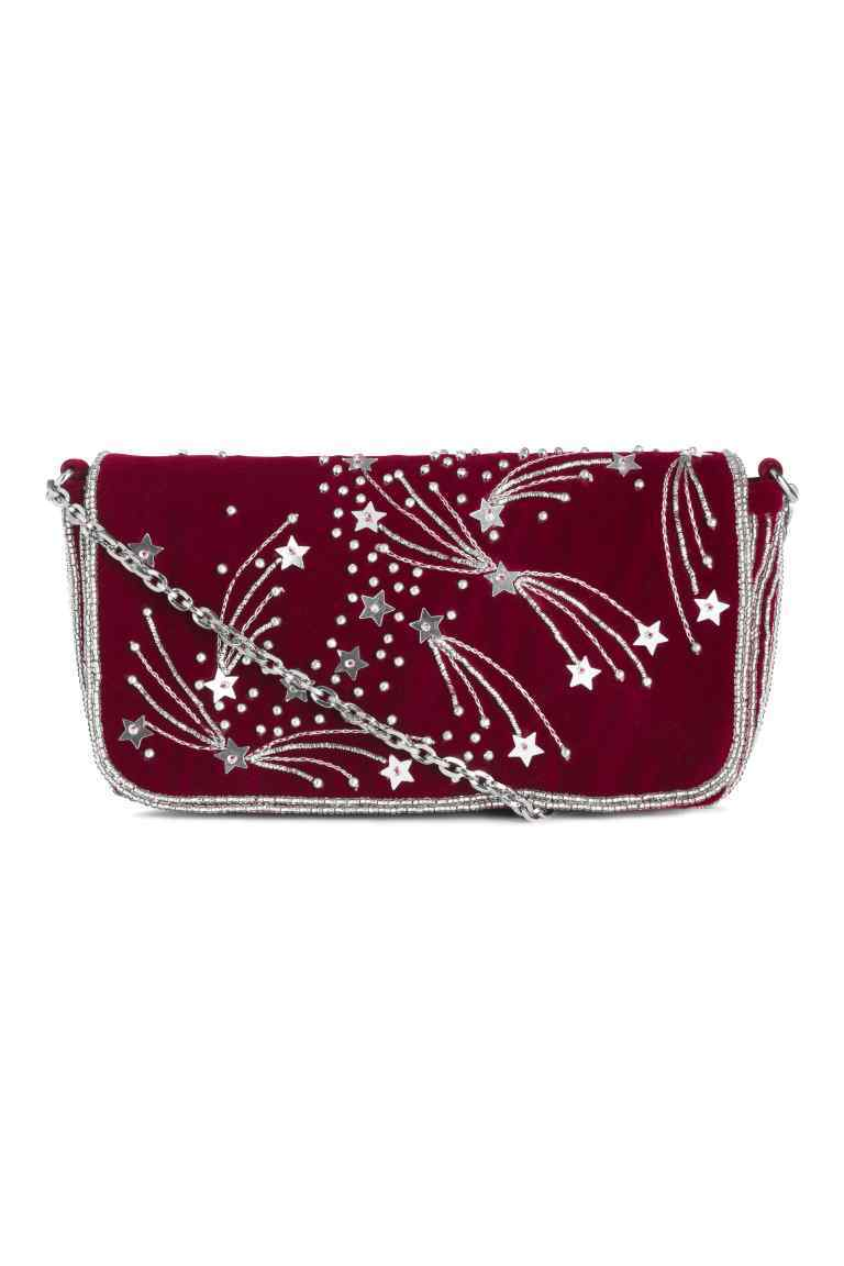 Beaded Shoulder Bag - predominant colour: burgundy; secondary colour: silver; occasions: casual, creative work; type of pattern: light; style: shoulder; length: shoulder (tucks under arm); size: small; material: suede; embellishment: beading; pattern: plain; finish: plain; season: a/w 2016; wardrobe: highlight; trends: velvet