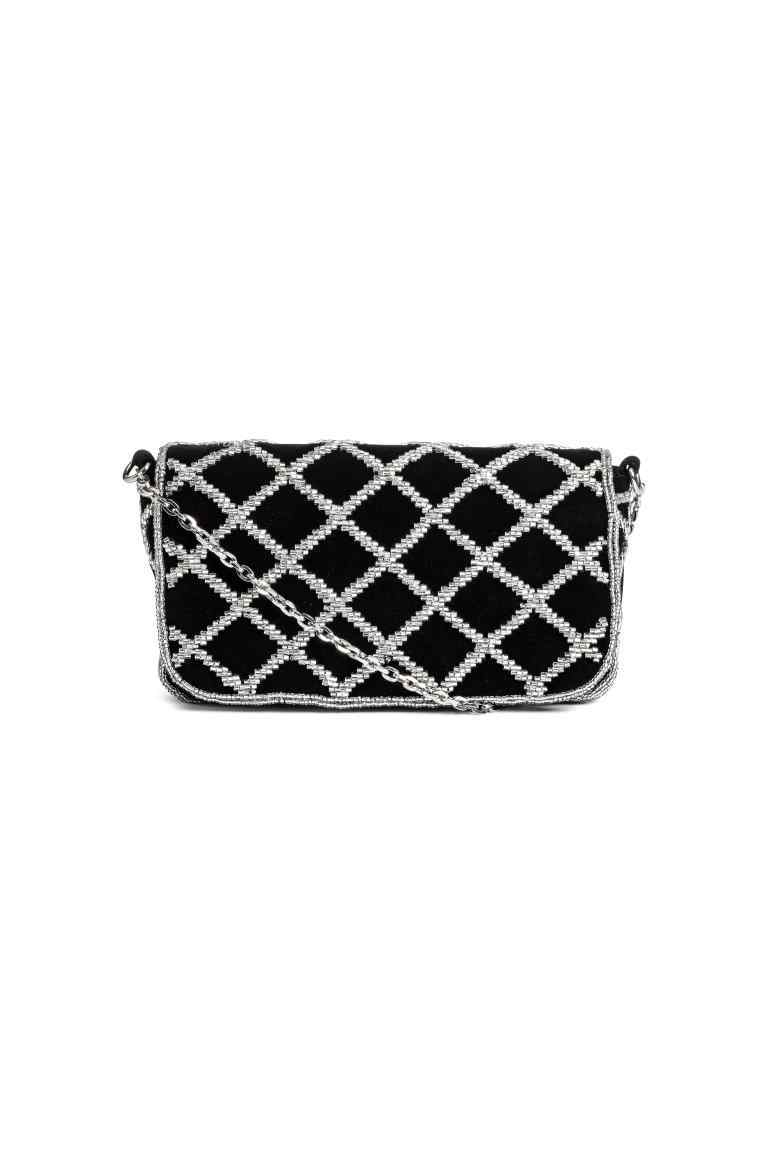 Beaded Shoulder Bag - secondary colour: silver; predominant colour: black; occasions: casual, creative work; type of pattern: light; style: shoulder; length: shoulder (tucks under arm); size: standard; material: suede; embellishment: beading; pattern: plain; finish: plain; season: a/w 2016; trends: velvet