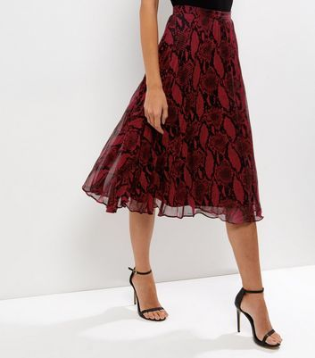 Red Snakeskin Print Layered Pleated Midi Skirt - length: below the knee; style: full/prom skirt; fit: loose/voluminous; waist: mid/regular rise; predominant colour: true red; secondary colour: black; occasions: evening; fibres: polyester/polyamide - 100%; texture group: sheer fabrics/chiffon/organza etc.; pattern type: fabric; pattern: patterned/print; multicoloured: multicoloured; season: a/w 2016