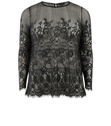 Curves Black Lace Scallop Hem Top - neckline: round neck; predominant colour: black; occasions: evening; length: standard; style: top; fibres: nylon - 100%; fit: body skimming; sleeve length: 3/4 length; sleeve style: standard; texture group: lace; pattern type: fabric; pattern size: standard; pattern: patterned/print; embellishment: lace; season: a/w 2016