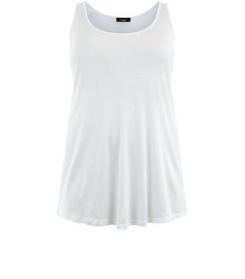 Curves White Sleeveless Top - neckline: round neck; pattern: plain; sleeve style: sleeveless; style: vest top; predominant colour: white; occasions: casual; length: standard; fibres: cotton - mix; fit: loose; sleeve length: sleeveless; pattern type: fabric; texture group: jersey - stretchy/drapey; wardrobe: basic; season: a/w 2016