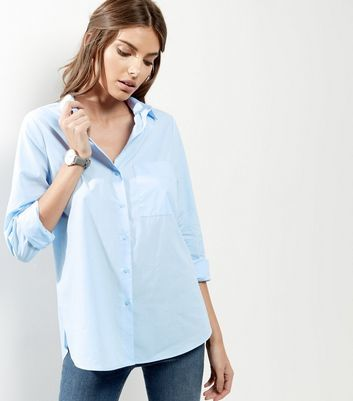 Pale Blue Single Pocket Stitch Trim Longline Shirt - neckline: shirt collar/peter pan/zip with opening; pattern: plain; length: below the bottom; style: shirt; predominant colour: pale blue; occasions: casual; fibres: cotton - 100%; fit: loose; sleeve length: long sleeve; sleeve style: standard; texture group: cotton feel fabrics; pattern type: fabric; season: a/w 2016