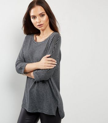 Dark Grey Stripe Batwing Sleeve Top - neckline: round neck; sleeve style: dolman/batwing; pattern: horizontal stripes; length: below the bottom; predominant colour: charcoal; secondary colour: light grey; occasions: casual; style: top; fibres: cotton - mix; fit: loose; sleeve length: 3/4 length; pattern type: fabric; texture group: jersey - stretchy/drapey; multicoloured: multicoloured; wardrobe: basic; season: a/w 2016