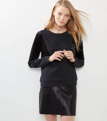 Black Velour Contrast Panel Sweater - pattern: plain; style: standard; predominant colour: black; occasions: casual; length: standard; fibres: cotton - 100%; fit: standard fit; neckline: crew; sleeve length: long sleeve; sleeve style: standard; texture group: knits/crochet; pattern type: fabric; wardrobe: basic; season: a/w 2016