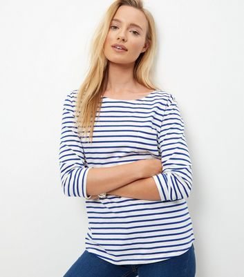 Blue Stripe 3/4 Sleeve Top - neckline: round neck; pattern: striped; length: below the bottom; predominant colour: white; secondary colour: diva blue; occasions: casual, creative work; style: top; fibres: cotton - 100%; fit: body skimming; sleeve length: 3/4 length; sleeve style: standard; pattern type: fabric; pattern size: standard; texture group: jersey - stretchy/drapey; season: a/w 2016; wardrobe: highlight