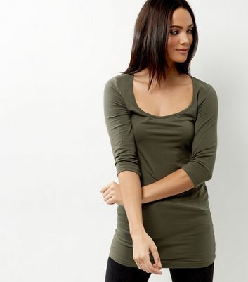 Olive Green Scoop Neck 3/4 Sleeve Longline Top - pattern: plain; predominant colour: dark green; occasions: casual; length: standard; style: top; neckline: scoop; fibres: cotton - mix; fit: body skimming; sleeve length: 3/4 length; sleeve style: standard; pattern type: fabric; texture group: jersey - stretchy/drapey; season: a/w 2016; wardrobe: highlight