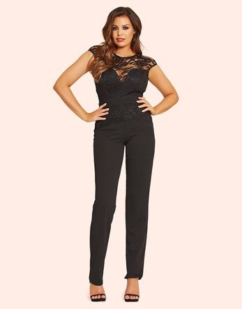 Lace Overlay Jumpsuit - length: standard; sleeve style: capped; fit: tailored/fitted; pattern: plain; bust detail: sheer at bust; predominant colour: black; occasions: evening; fibres: polyester/polyamide - stretch; neckline: crew; sleeve length: short sleeve; texture group: crepes; style: jumpsuit; pattern type: fabric; embellishment: lace; shoulder detail: sheer at shoulder; season: a/w 2016; wardrobe: event
