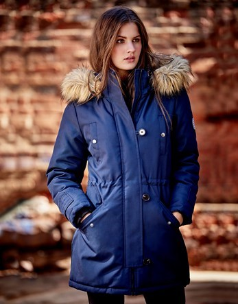 Faux Fur Hooded Parka - pattern: plain; length: below the bottom; collar: funnel; fit: loose; style: parka; back detail: hood; predominant colour: navy; occasions: casual; fibres: cotton - mix; sleeve length: long sleeve; sleeve style: standard; collar break: high; pattern type: fabric; texture group: other - bulky/heavy; wardrobe: basic; season: a/w 2016