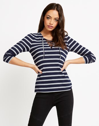 Striped Jumper - neckline: v-neck; pattern: horizontal stripes; style: standard; secondary colour: white; predominant colour: navy; occasions: casual; length: standard; fibres: polyester/polyamide - mix; fit: slim fit; sleeve length: 3/4 length; sleeve style: standard; pattern type: fabric; texture group: jersey - stretchy/drapey; multicoloured: multicoloured; season: a/w 2016; wardrobe: highlight