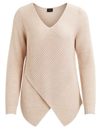 Wrap Knit Jumper - neckline: v-neck; pattern: plain; style: standard; predominant colour: blush; occasions: casual; length: standard; fibres: acrylic - mix; fit: standard fit; sleeve length: long sleeve; sleeve style: standard; texture group: knits/crochet; pattern type: knitted - fine stitch; wardrobe: basic; season: a/w 2016