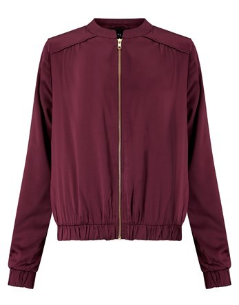 Bomber Jacket - pattern: plain; collar: high neck; fit: slim fit; style: bomber; predominant colour: burgundy; occasions: casual; length: standard; fibres: polyester/polyamide - 100%; sleeve length: long sleeve; sleeve style: standard; collar break: high; pattern type: fabric; texture group: other - light to midweight; season: a/w 2016