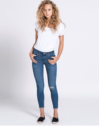 Cropped Jeans - style: skinny leg; pattern: plain; pocket detail: traditional 5 pocket; waist: mid/regular rise; predominant colour: denim; occasions: casual; length: calf length; fibres: cotton - stretch; texture group: denim; pattern type: fabric; jeans detail: rips; wardrobe: basic; season: a/w 2016