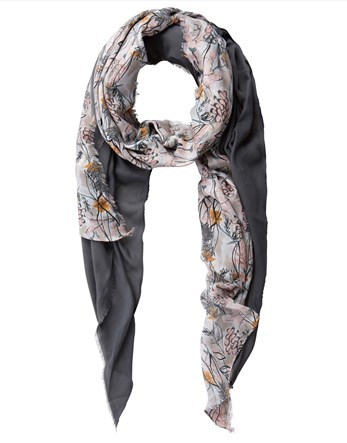 Long Papyrus Scarf - predominant colour: charcoal; occasions: casual, creative work; type of pattern: standard; style: regular; size: standard; material: fabric; pattern: patterned/print; multicoloured: multicoloured; season: a/w 2016; wardrobe: highlight