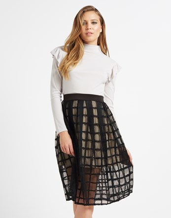 Grid Full Midi Skirt - pattern: checked/gingham; style: full/prom skirt; fit: loose/voluminous; waist: high rise; predominant colour: black; occasions: evening, occasion; length: just above the knee; fibres: polyester/polyamide - stretch; texture group: sheer fabrics/chiffon/organza etc.; pattern type: fabric; pattern size: big & busy (bottom); season: a/w 2016; wardrobe: event