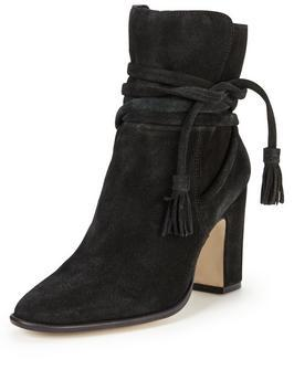 Onyx Ankle Tie Boot - predominant colour: black; occasions: casual; material: suede; heel height: high; embellishment: tassels; heel: block; toe: round toe; boot length: ankle boot; style: standard; finish: plain; pattern: plain; season: a/w 2016; wardrobe: highlight