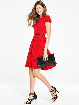 Belted Fit And Flare Dress - neckline: round neck; sleeve style: capped; pattern: plain; waist detail: belted waist/tie at waist/drawstring; predominant colour: true red; occasions: evening, creative work; length: just above the knee; fit: fitted at waist & bust; style: fit & flare; fibres: polyester/polyamide - stretch; hip detail: soft pleats at hip/draping at hip/flared at hip; sleeve length: short sleeve; pattern type: fabric; texture group: jersey - stretchy/drapey; season: a/w 2016; wardrobe: highlight