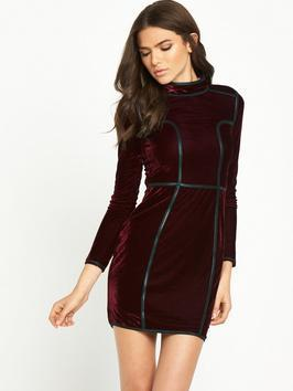 Long Sleeve High Neck Velvet Dress - length: mini; fit: tight; pattern: plain; neckline: high neck; style: bodycon; hip detail: fitted at hip; predominant colour: burgundy; occasions: evening; fibres: polyester/polyamide - stretch; sleeve length: long sleeve; sleeve style: standard; pattern type: fabric; texture group: velvet/fabrics with pile; season: a/w 2016; trends: velvet