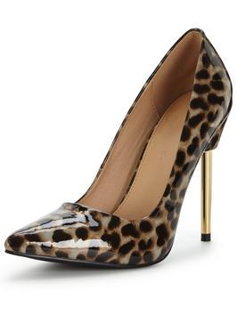 Sienna Metal Heel Point Court Shoes Leopard Print - secondary colour: chocolate brown; predominant colour: tan; occasions: evening, occasion; material: plastic/rubber; heel height: high; heel: stiletto; toe: pointed toe; style: courts; finish: plain; pattern: animal print; season: a/w 2016; wardrobe: event; trends: opulent prints
