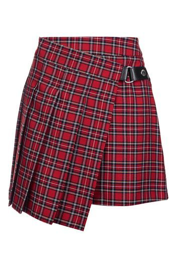Punky Check Kilt Style Skirt - length: mini; pattern: tartan; fit: tailored/fitted; style: kilt; waist: mid/regular rise; predominant colour: true red; secondary colour: black; occasions: casual; fibres: polyester/polyamide - mix; pattern type: fabric; texture group: woven light midweight; season: a/w 2016; wardrobe: highlight