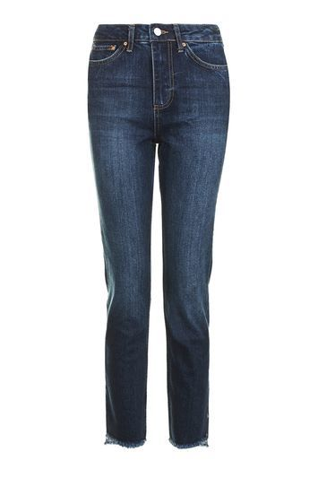 Moto Spiral Hem Straight Leg Jeans - style: straight leg; length: standard; pattern: plain; pocket detail: traditional 5 pocket; waist: mid/regular rise; predominant colour: navy; occasions: casual; fibres: cotton - stretch; jeans detail: whiskering; texture group: denim; pattern type: fabric; season: a/w 2016